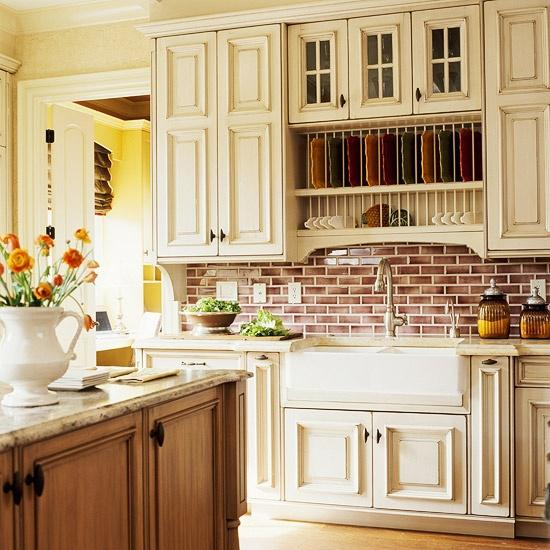 Image of: faux brick backsplash