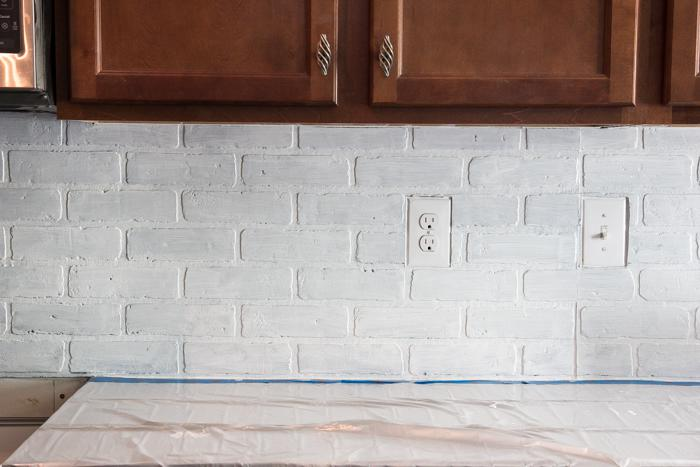 Image of: faux brick for kitchen backsplash