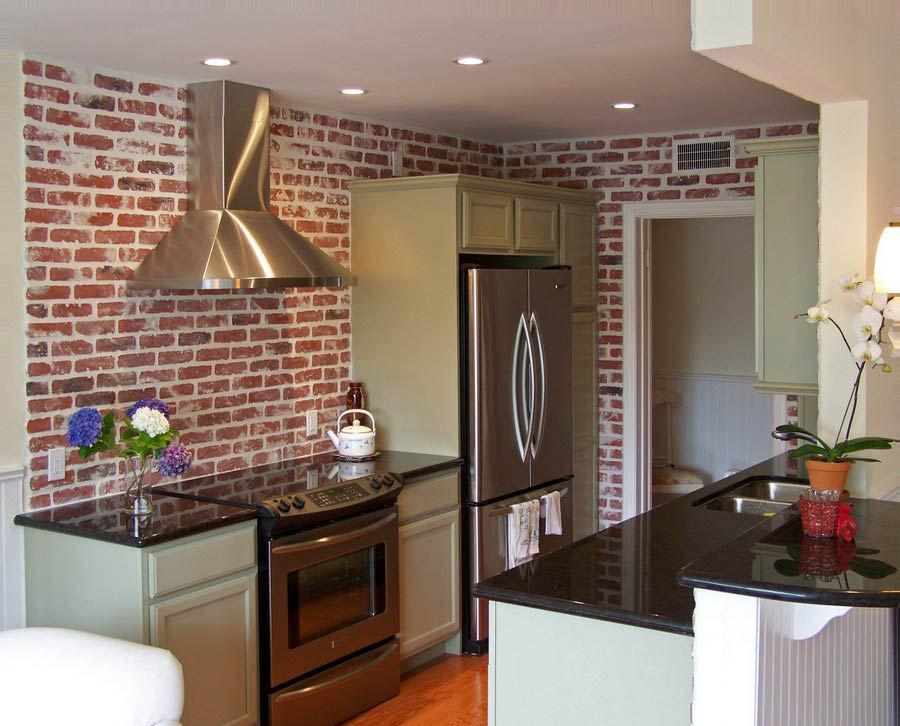 Image of: faux brick kitchen backsplash