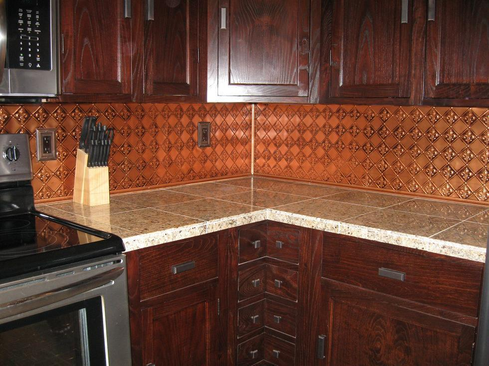 Image of: faux copper backsplash