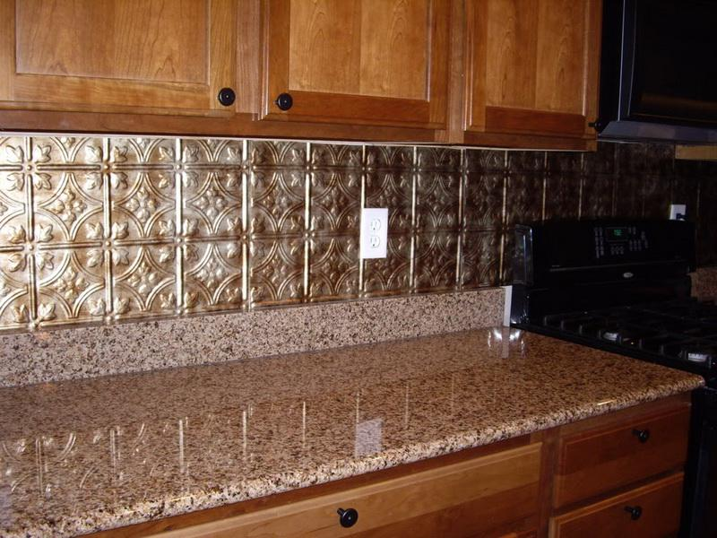Image of: faux metal backsplash