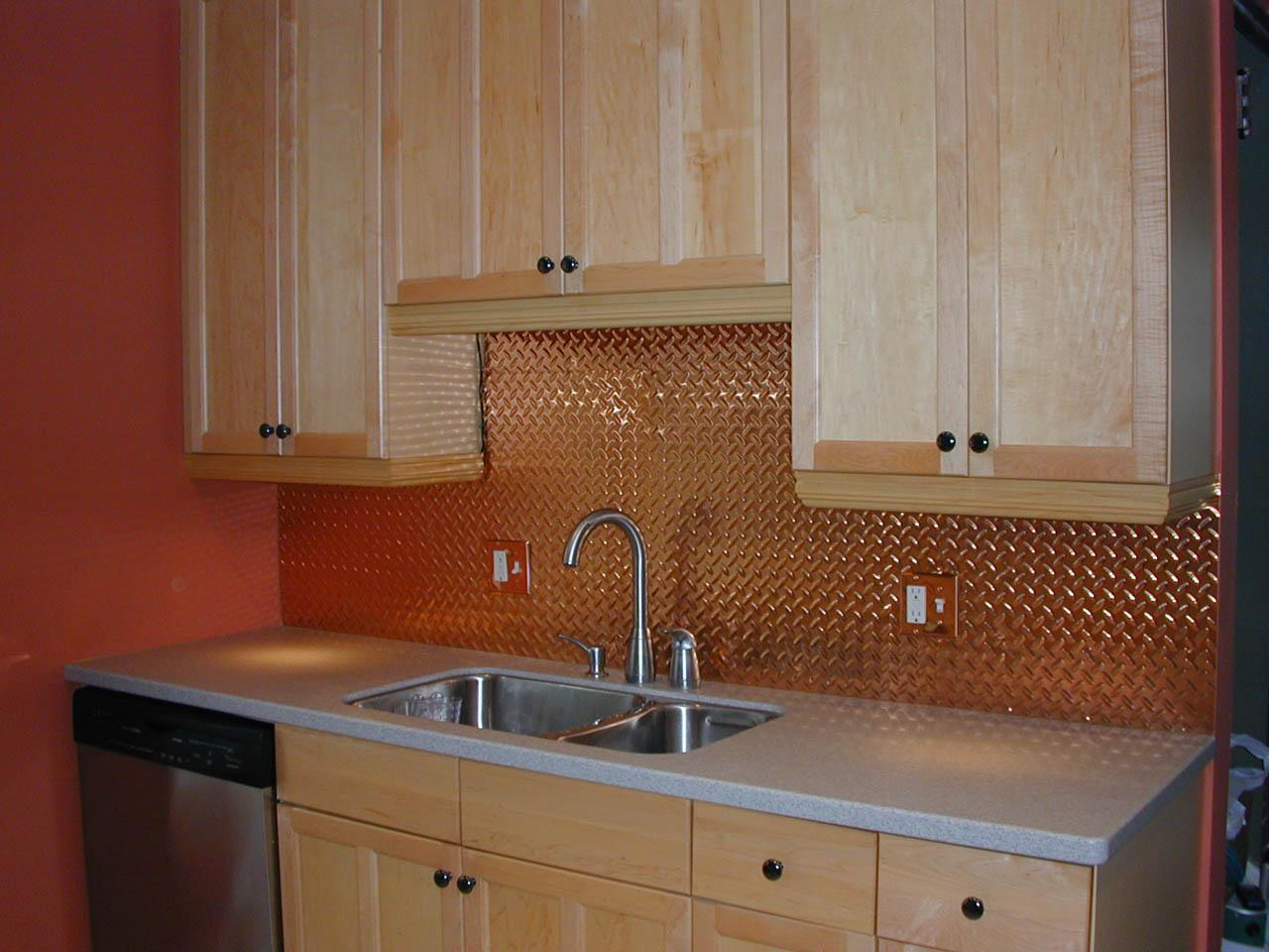 Image of: faux tin tile backsplash