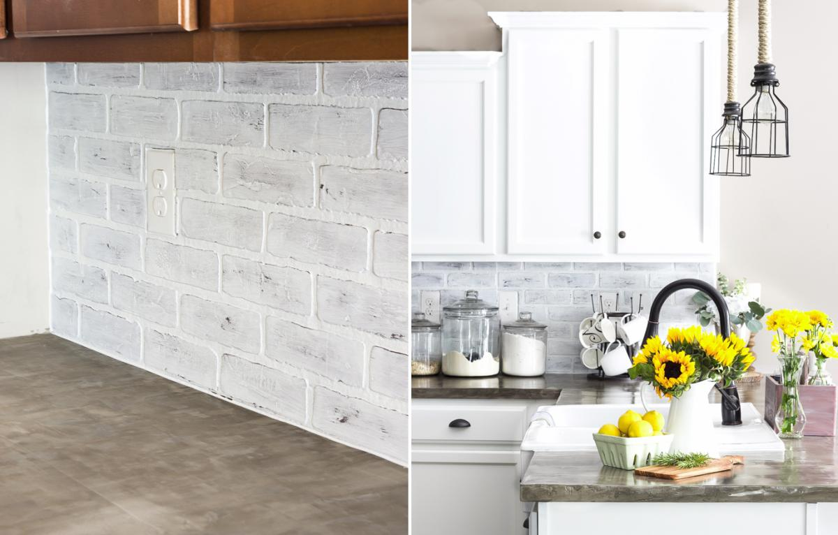 Image of: faux white brick backsplash