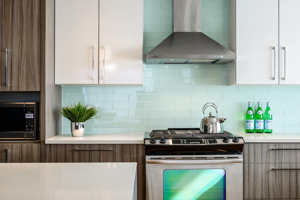 Image of: glass backsplash tile blue