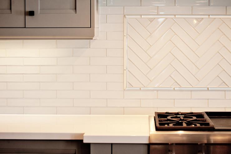 Image of: glass herringbone backsplash