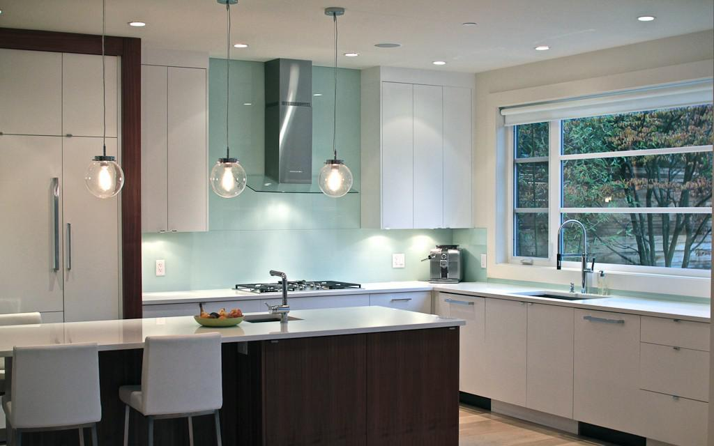 Image of: glass tile backsplash around window