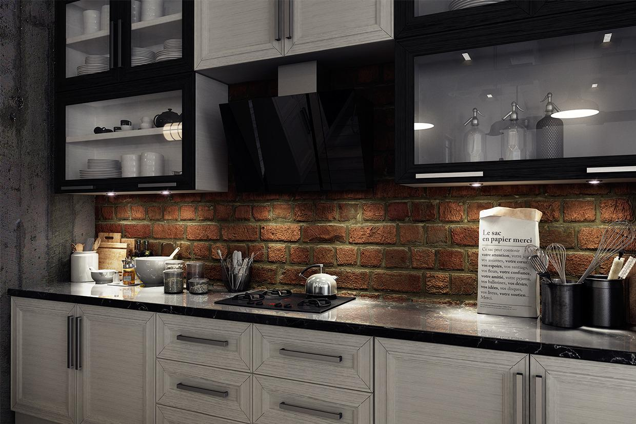 Image of: gray brick backsplash