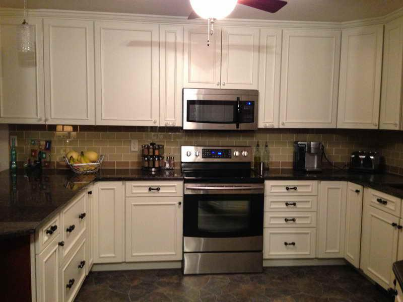 Image of: gray glass subway tile backsplash