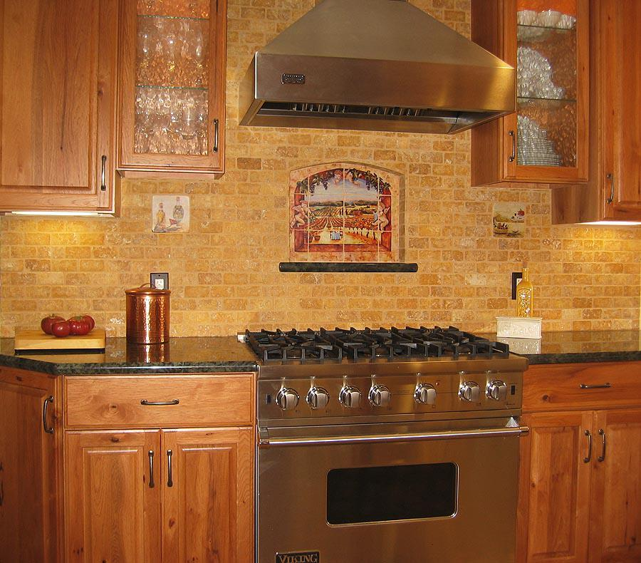 Image of: gray glass subway tile kitchen backsplash