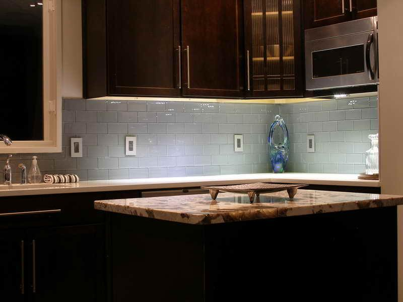 Image of: gray subway tile backsplash