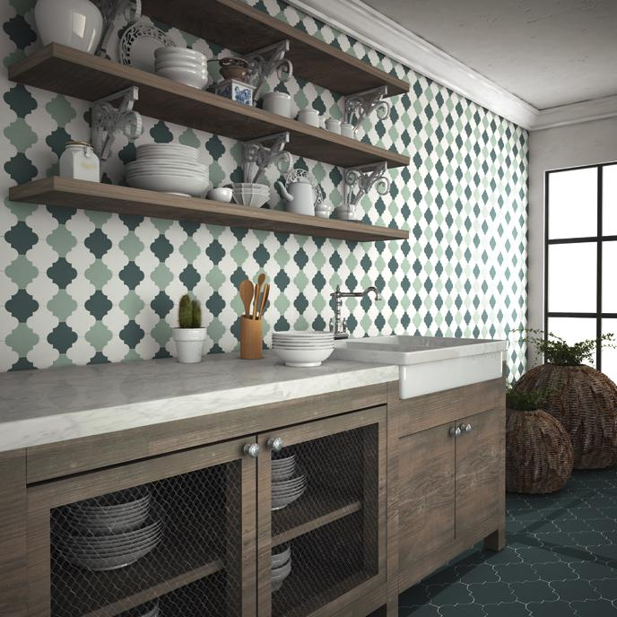 Image of: green arabesque tile backsplash