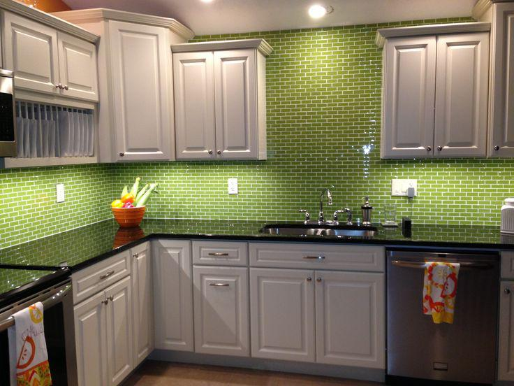 Image of: green subway tile backsplash