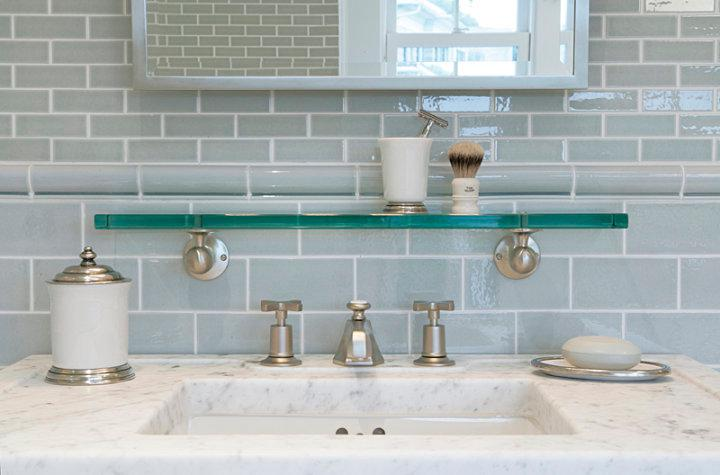 Image of: grey glass subway tile backsplash