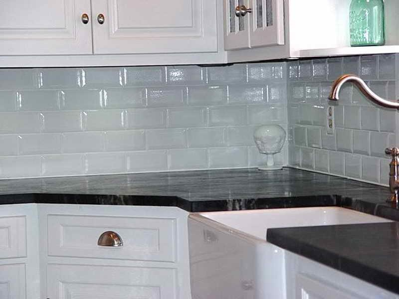 Image of: grey subway tile backsplash kitchen