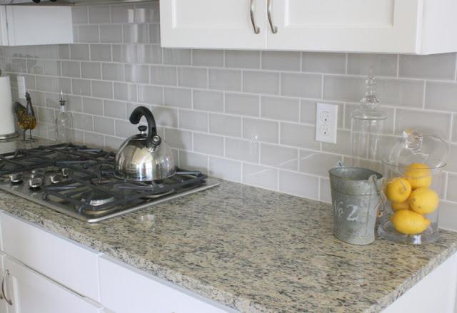 Image of: grey subway tile backsplash