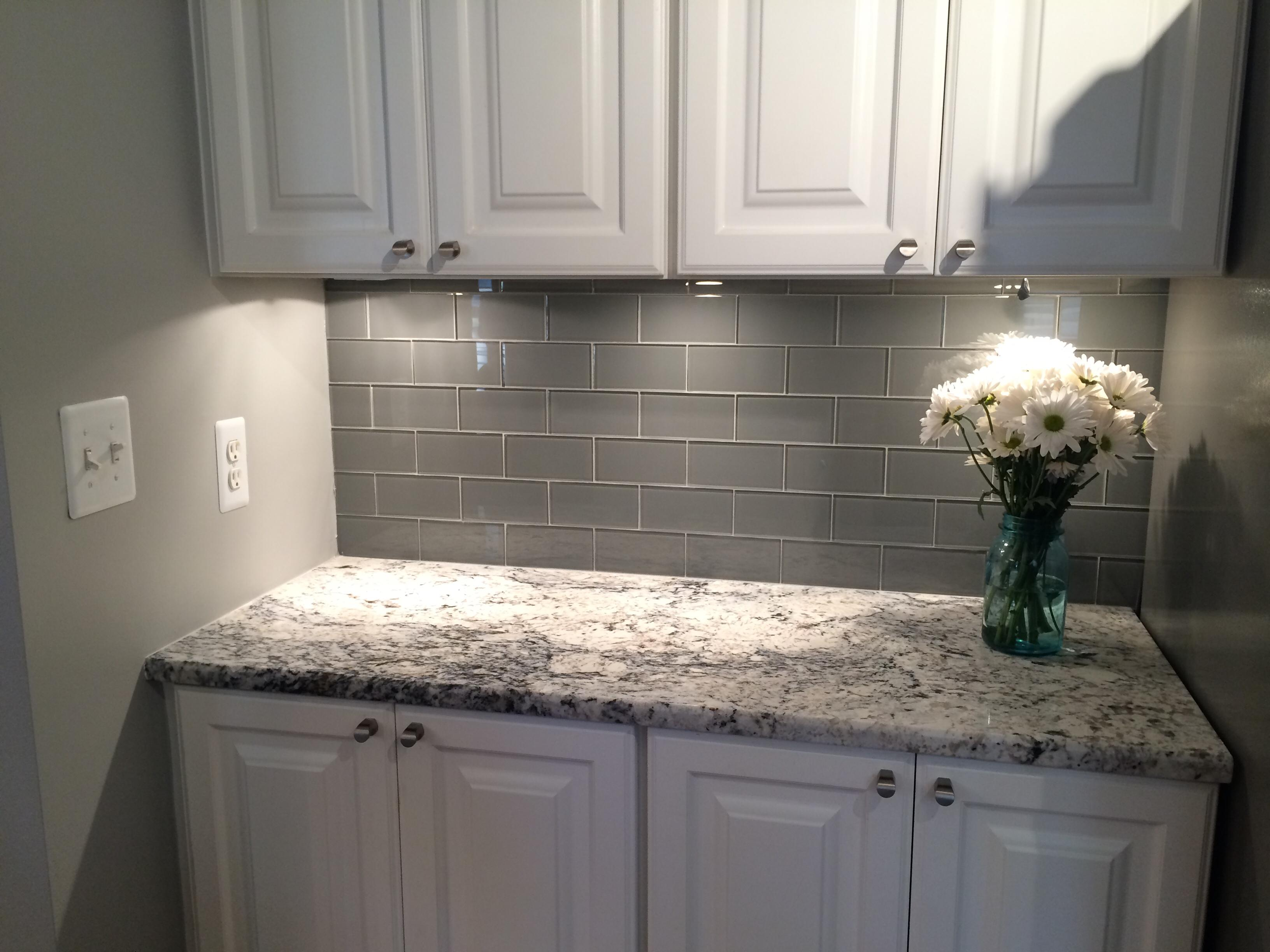 Image of: grey tile backsplash