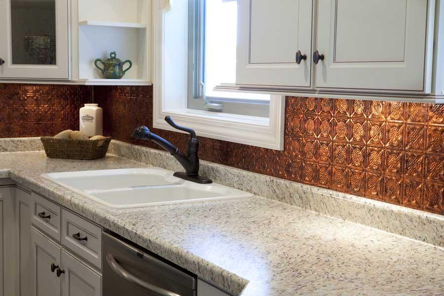 Image of: hammered copper backsplash kitchen