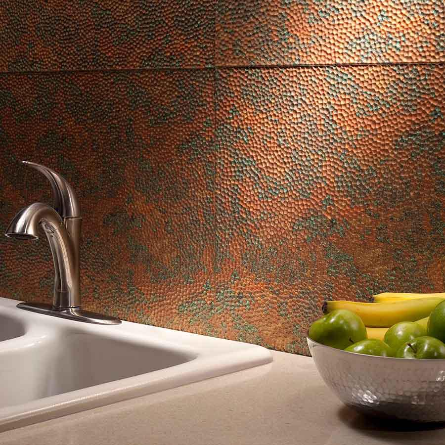 Image of: hammered copper backsplash