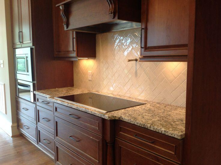 Image of: herringbone backsplash tile