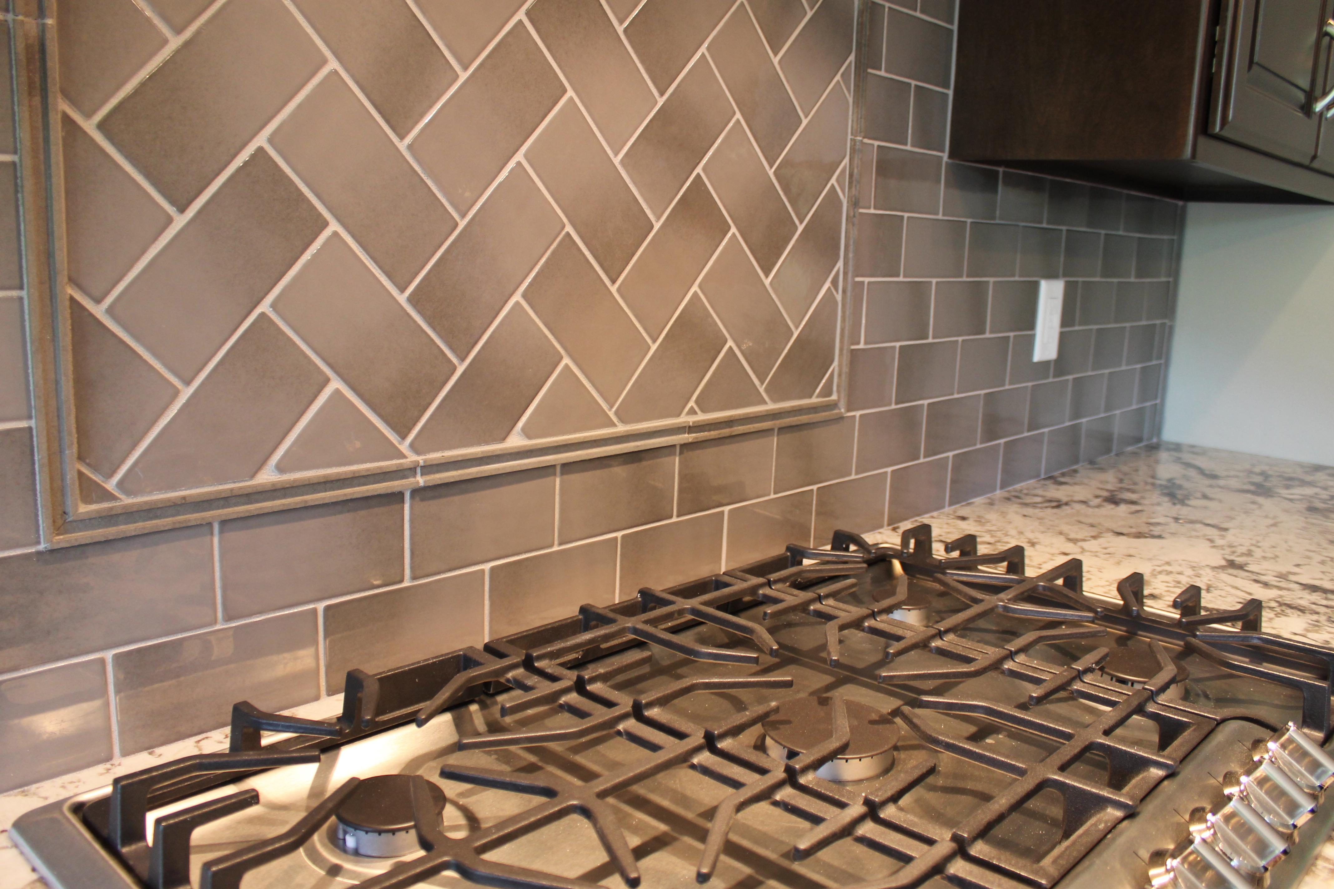 Image of: herringbone backsplash tiles