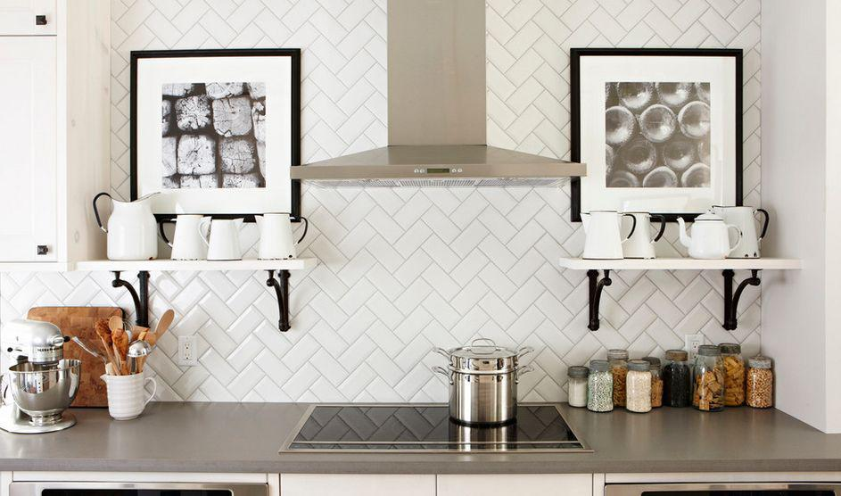 Image of: herringbone pattern backsplash