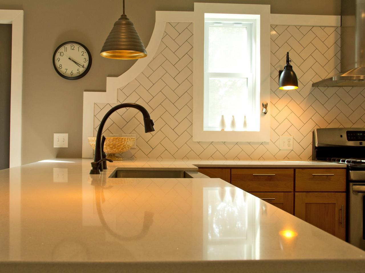 Image of: herringbone subway tile backsplash