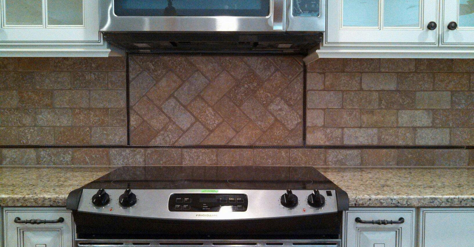 Image of: herringbone tile backsplash