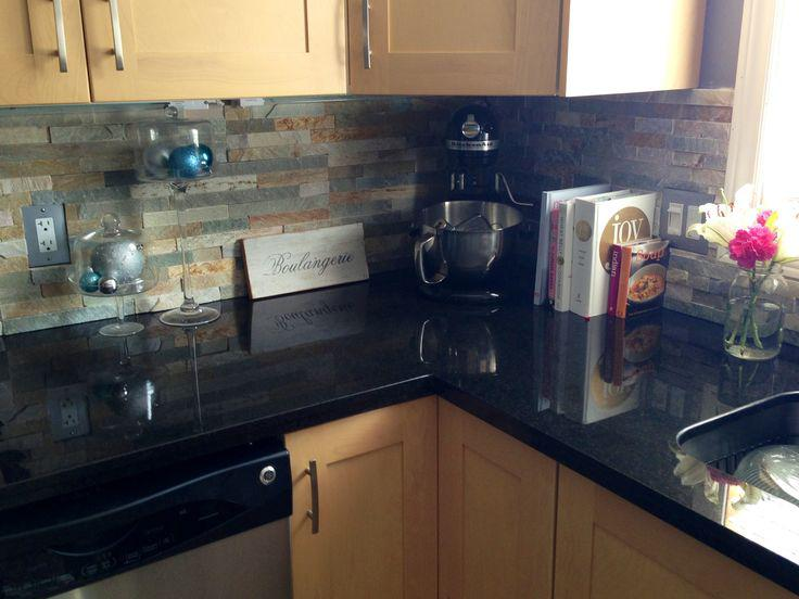 Image of: installing natural stone backsplash