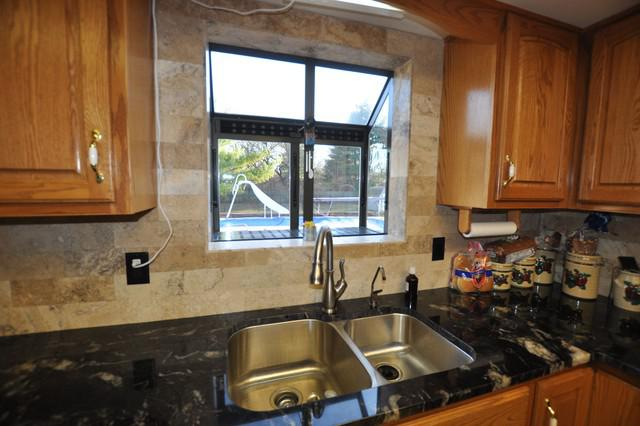 Image of: kitchen backsplash around window