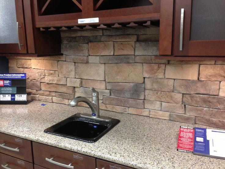 Image of: kitchen rock backsplash