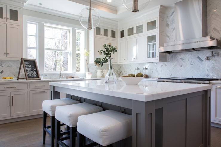 Image of: marble herringbone backsplash