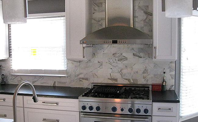 Image of: marble subway tile backsplash