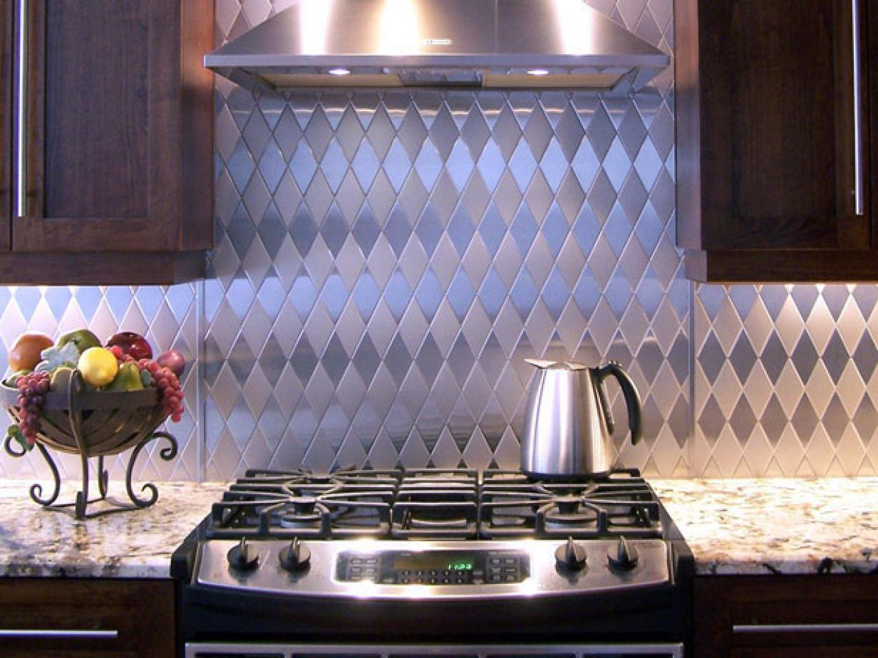Image of: metal backsplash ideas