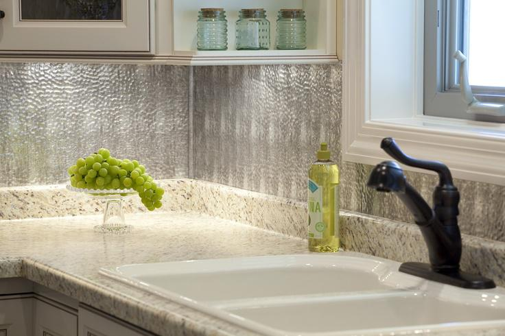 Image of: metal backsplash sheets