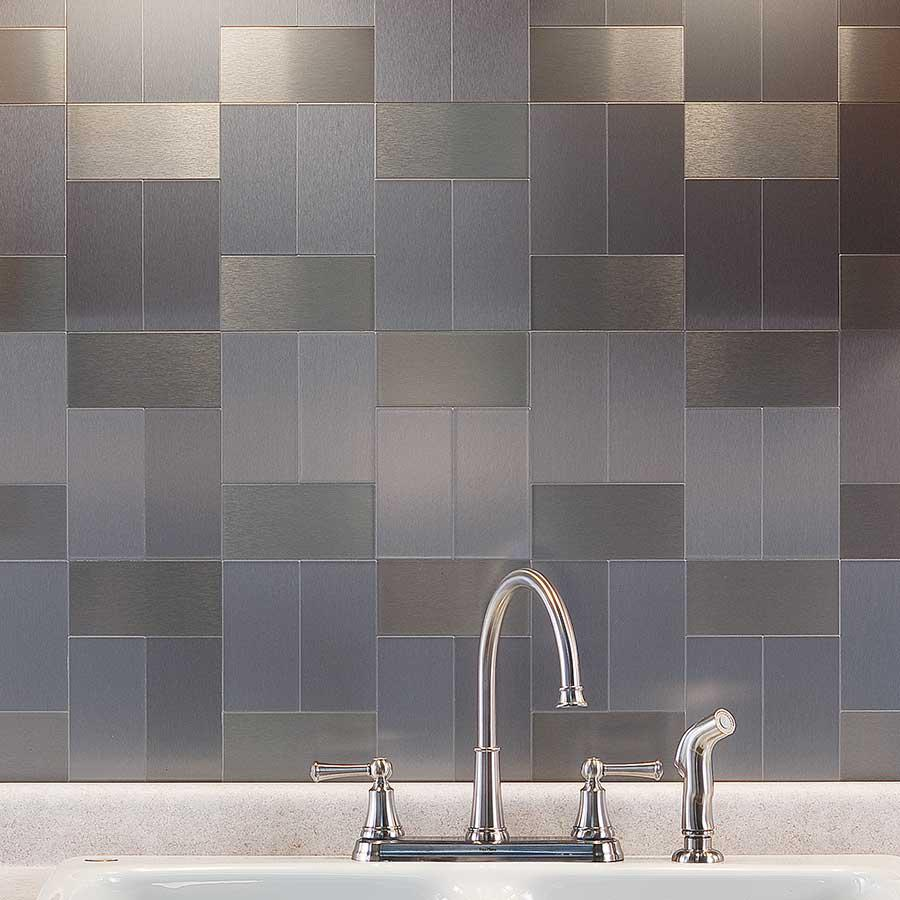 Image of: metal backsplash tiles