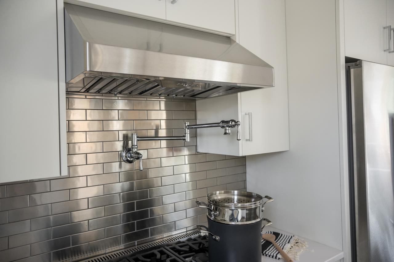 Image of: metal kitchen backsplash