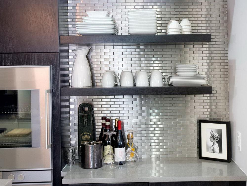 Image of: metal stove backsplash