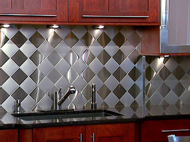 Image of: metal tile backsplash