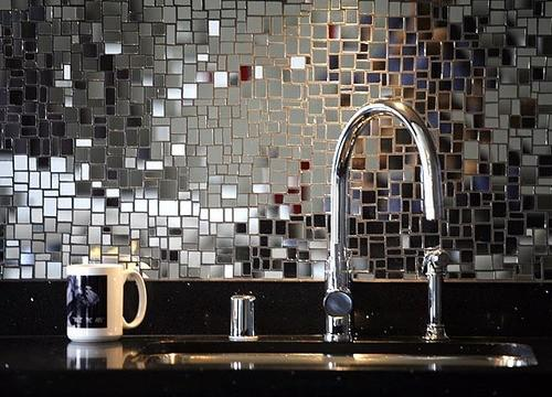 Image of: mirror mosaic tile backsplash