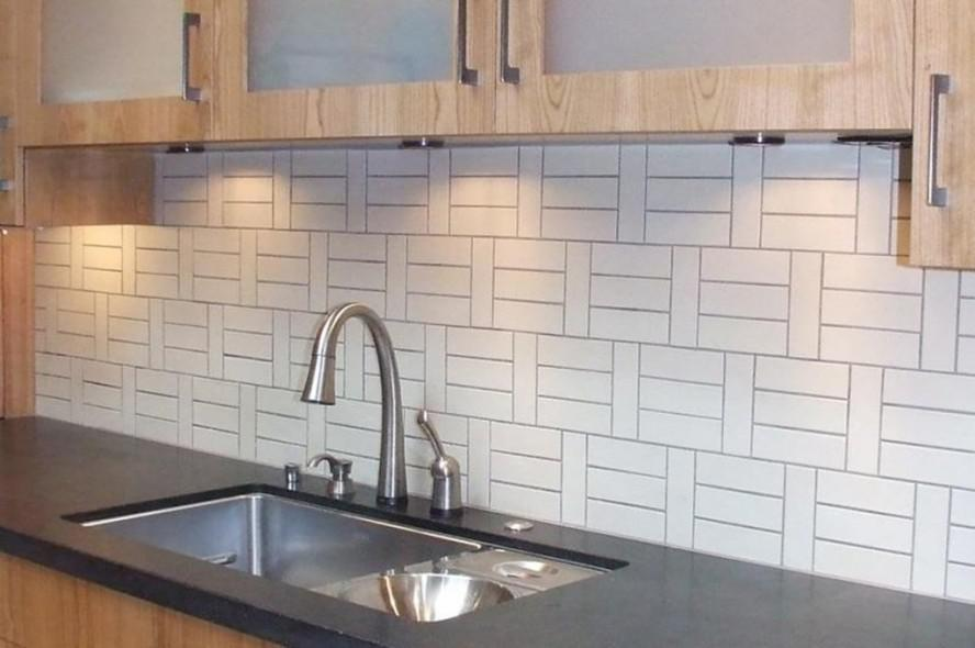 Image of: modern white kitchen backsplash