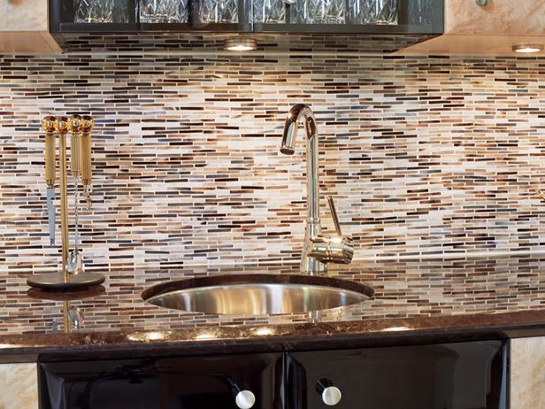 Image of: mosaic glass tile backsplash