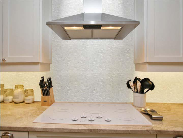 Image of: mother of pearl mosaic tile backsplash