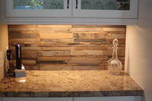 Image of: natural stacked stone backsplash
