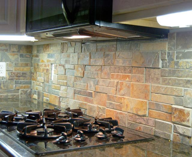 Image of: natural stone backsplashes
