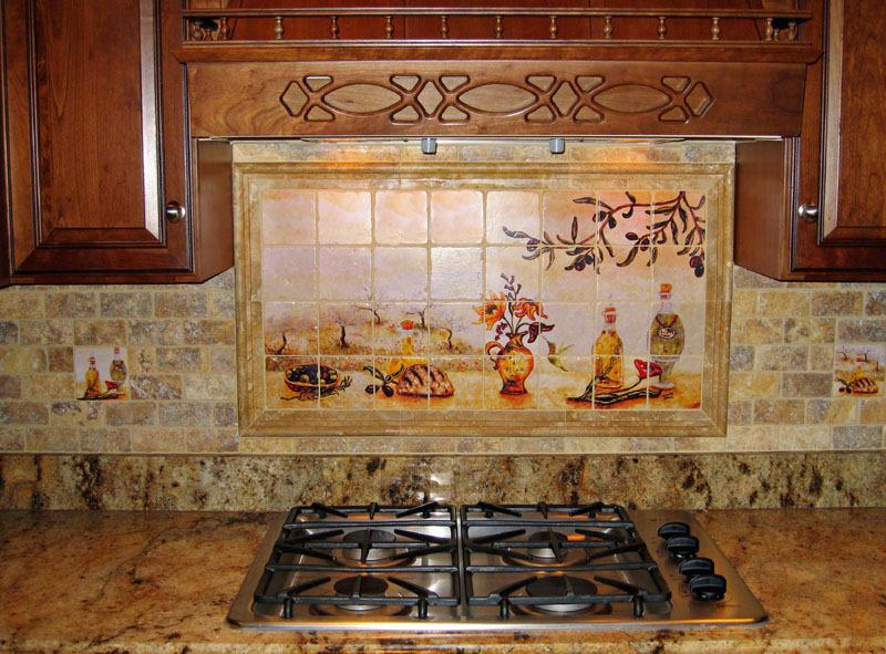 Image of: natural stone subway tile backsplash