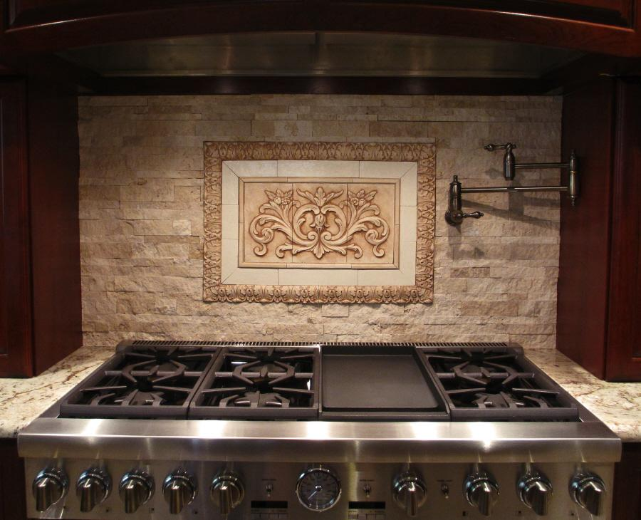 Image of: natural stone tile backsplash
