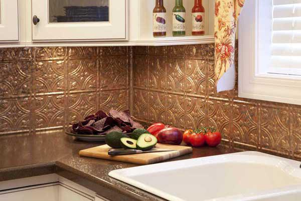 Image of: patina copper backsplash