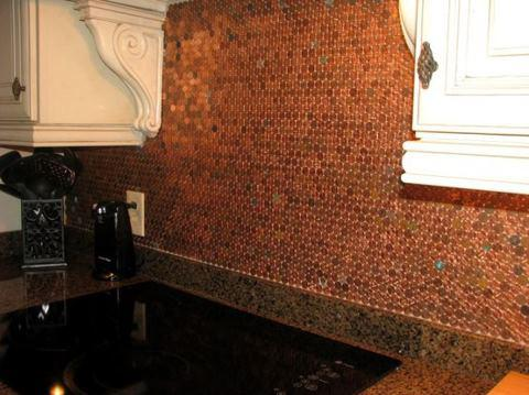 Image of: penny backsplash diy