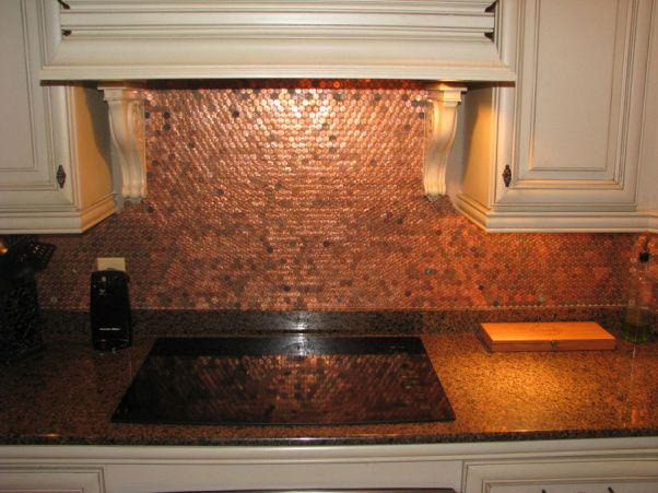 Image of: penny backsplash