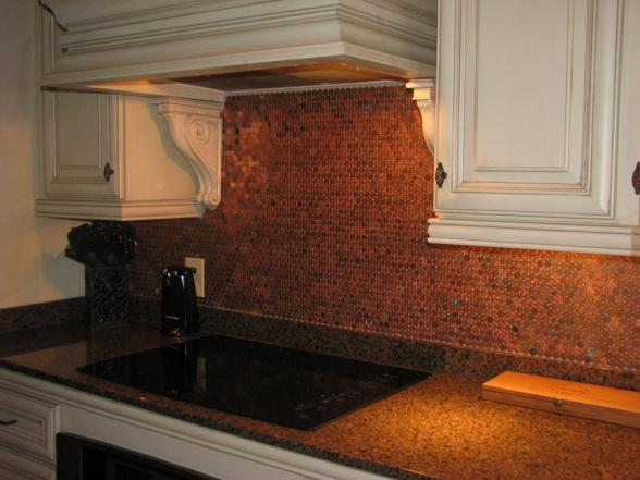 Image of: penny tile backsplash